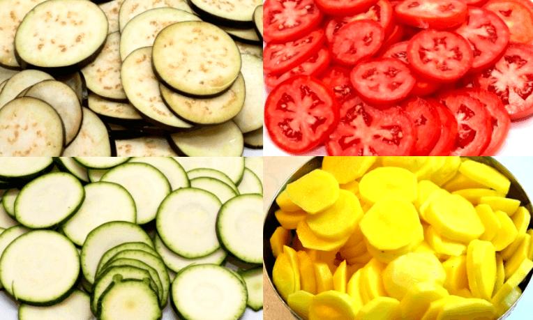 Порежем баклажаны, кабачки, помидоры и картофель аккуратными кружочками. Чтобы с…