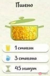 Пшённая крупа: На 1 стакан крупы — 3 стакана воды.…