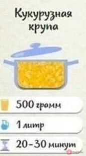 Кукурузная крупа: На 500 грамм крупы — 1 литр воды.…